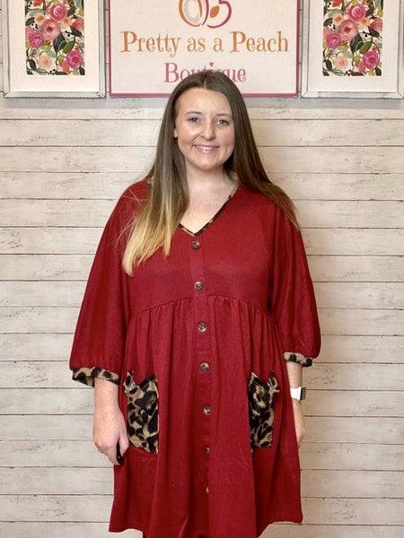 Umgee Red Button Animal Print Pocket Dress