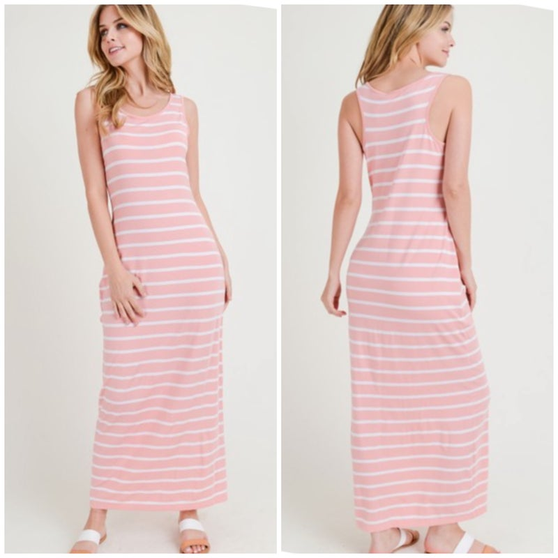 Blush Striped Maxi Dress