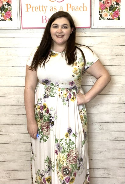 Ivory Floral Pocket Maxi Dress