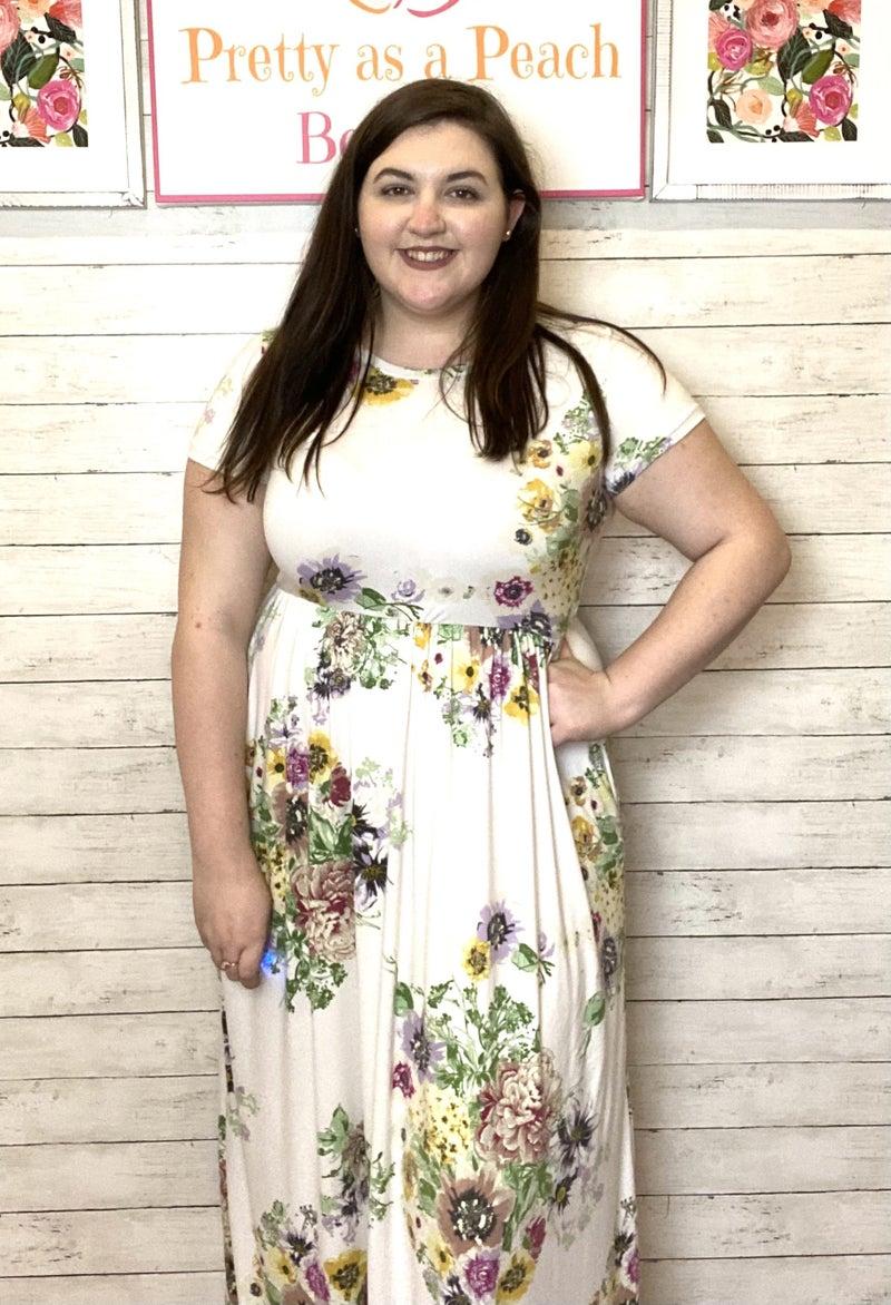 Ivory Floral Pocket Maxi Dress