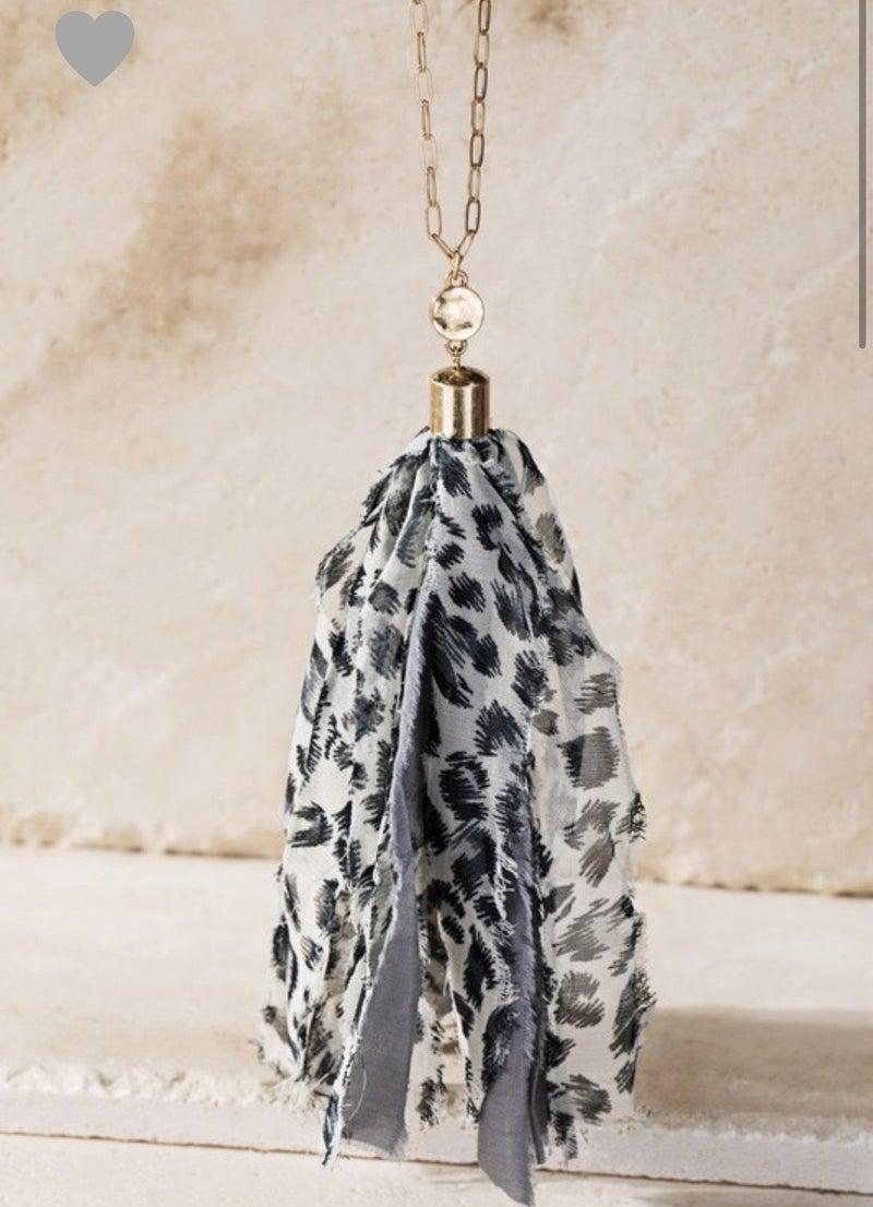 Gray Animal Print Tassel Necklace