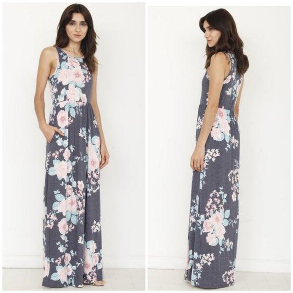 Blue Floral Pocket Maxi Dress