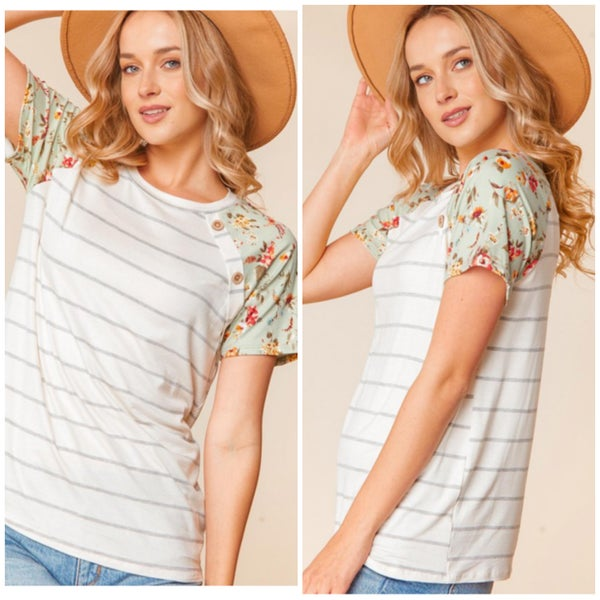 Sage Floral Sleeve Striped Button Top