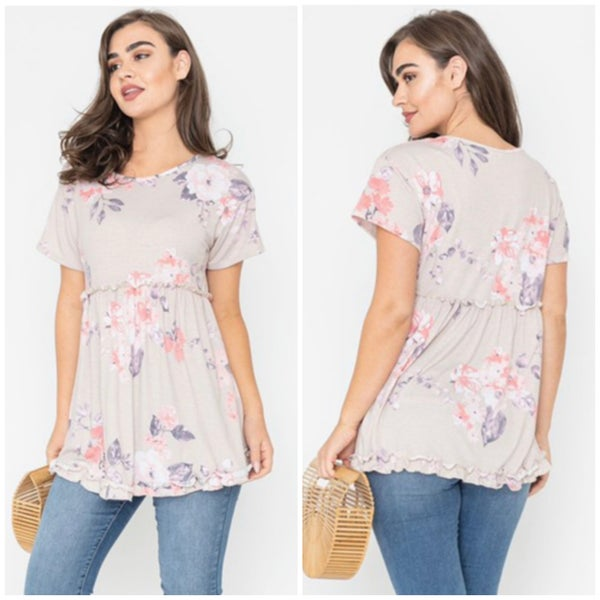 Blush & Purple Floral Babydoll Tunic