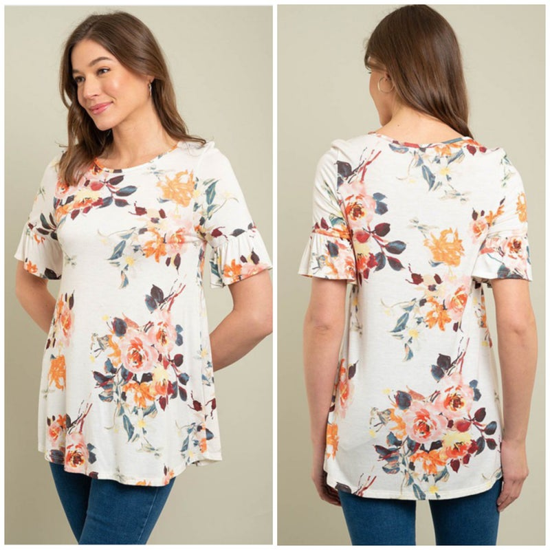 Ivory Floral Ruffle Sleeve Top
