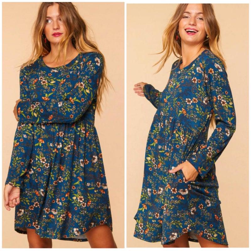 Blue Floral Baby Doll Pocket Dress