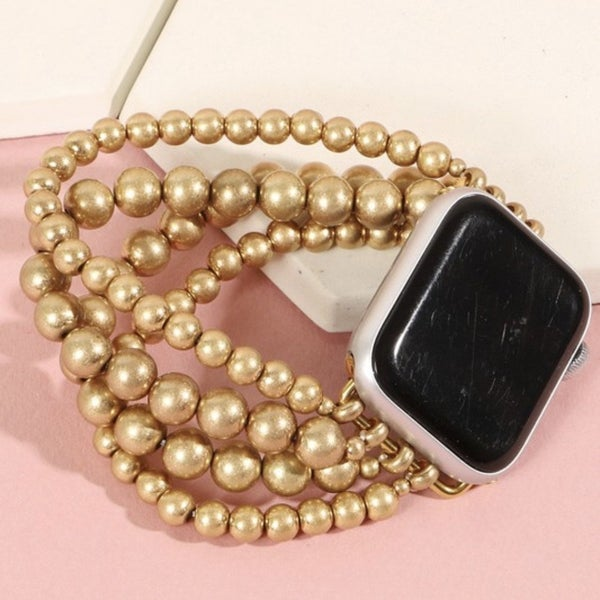 Gold Beaded Apple Watch Band (Fits 38/40)
