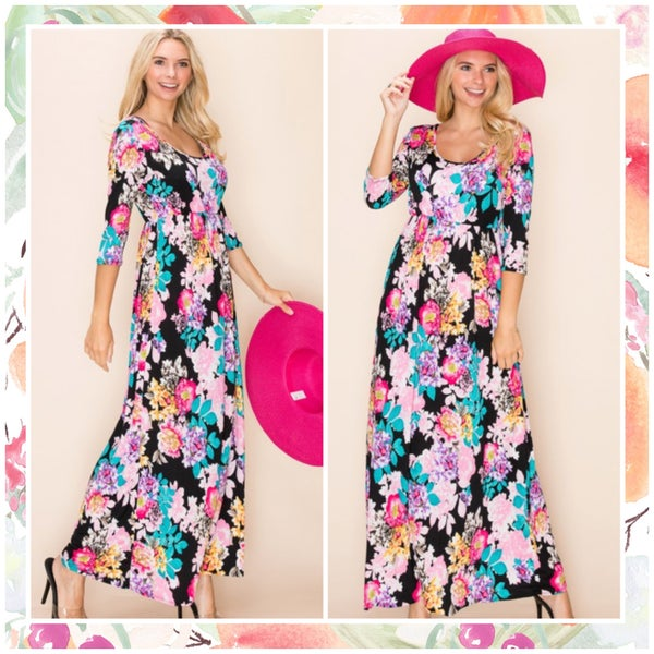 Black Multi Floral Maxi Dress