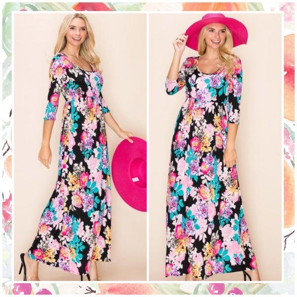 FINAL SALE Black Multi Floral Maxi Dress