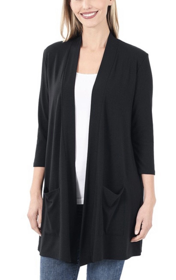DEAL OF THE DAY 3/4 Sleeve Pocket Cardigan