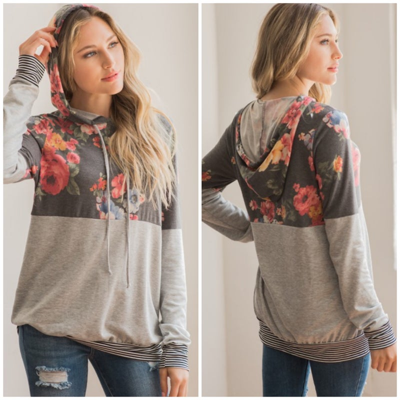 LAST CHANCE FINALSALE Charcoal Floral Hoodie