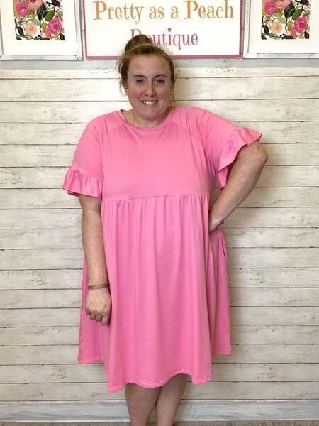 Pink Ruffle Sleeve Pocket Dress