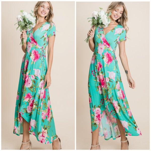 Mint Floral Faux Wrap Maxi Dress