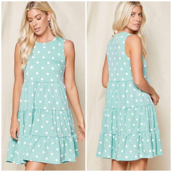 LAST CHANCE FINALSALE Mint Polka Dot Tiered Dress