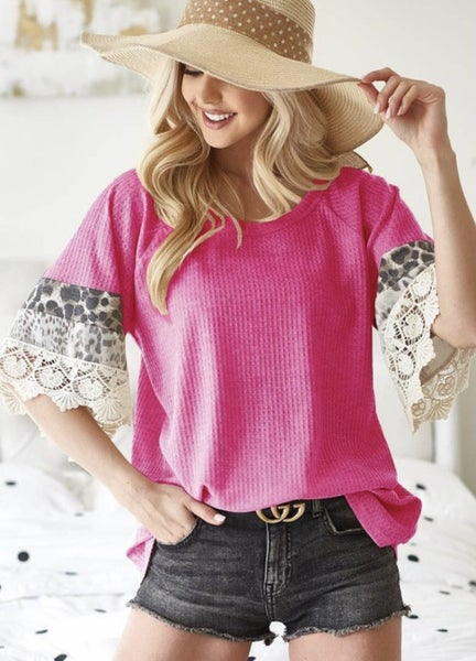 Pink Animal Print Lace Sleeve Top