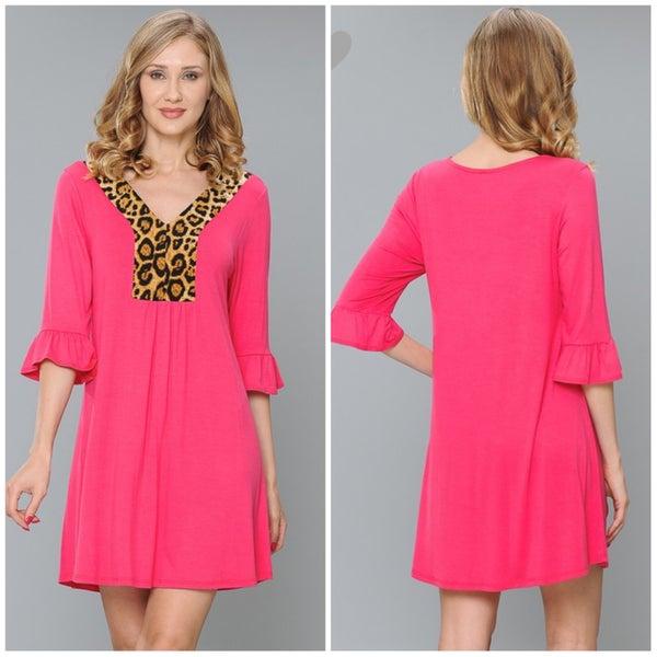 Pink Animal Print Ruffle Sleeve Dress