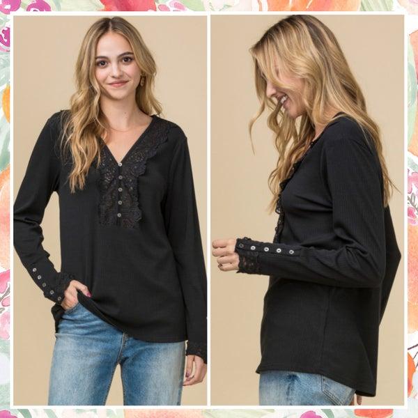 FINAL SALE Black Lace Button Top