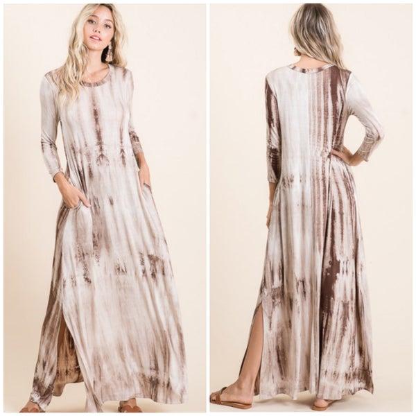 Mocha Tie Dye Pocket Maxi Dress