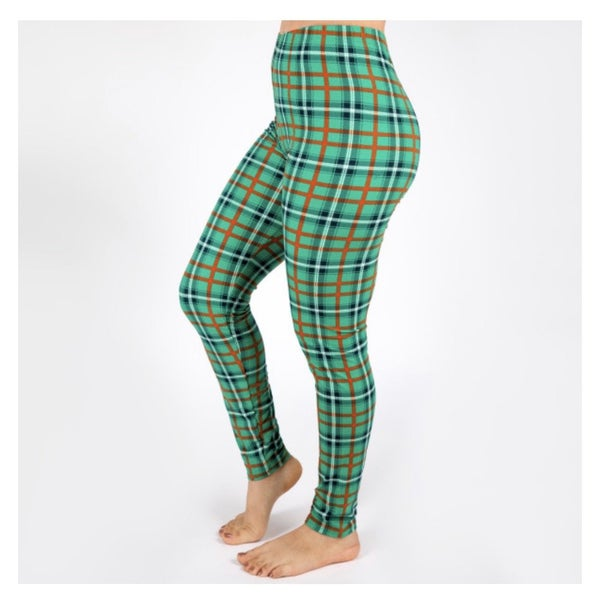FINAL SALE Green Plaid Christmas leggings