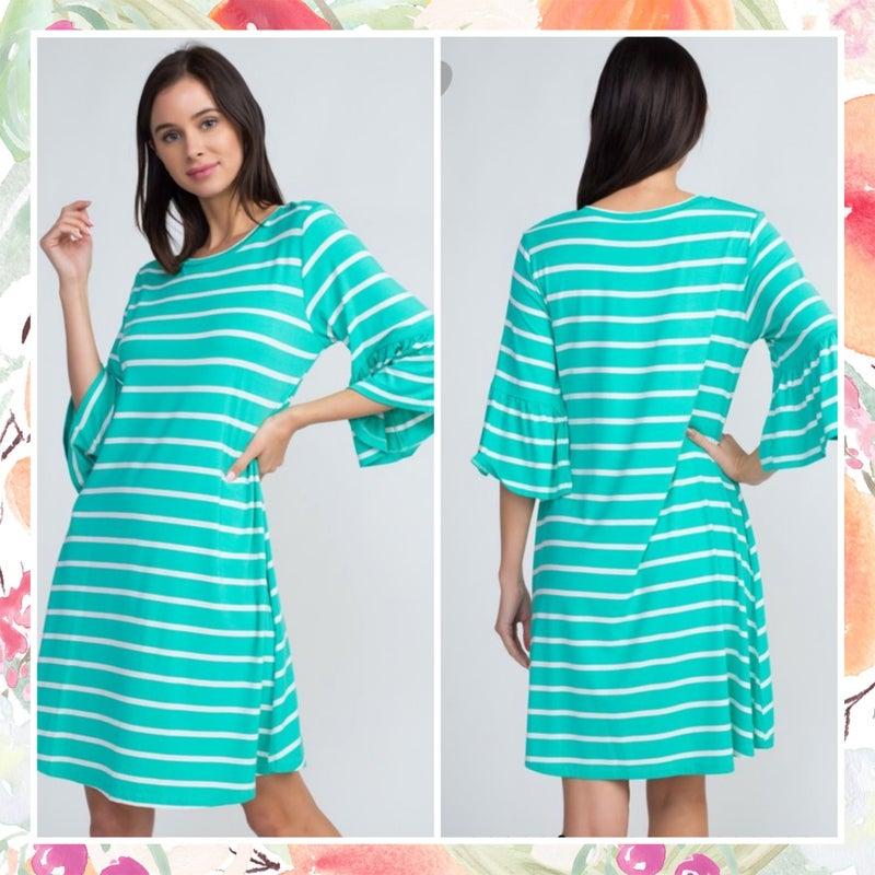 FINAL SALE Seafoam Striped Ruffle Sleeve Dress