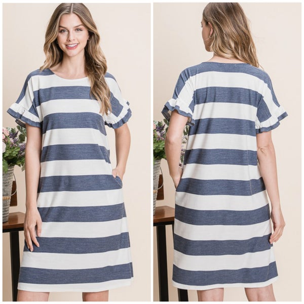 Navy Striped Pocket Dress