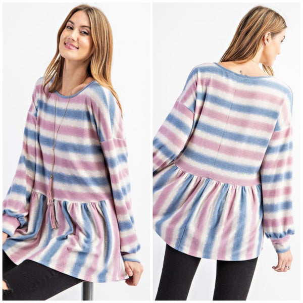 Pink & Blue Striped Top