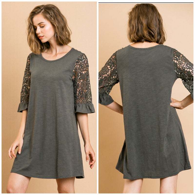 Umgee Charcoal Lace Ruffle Sleeve Dress