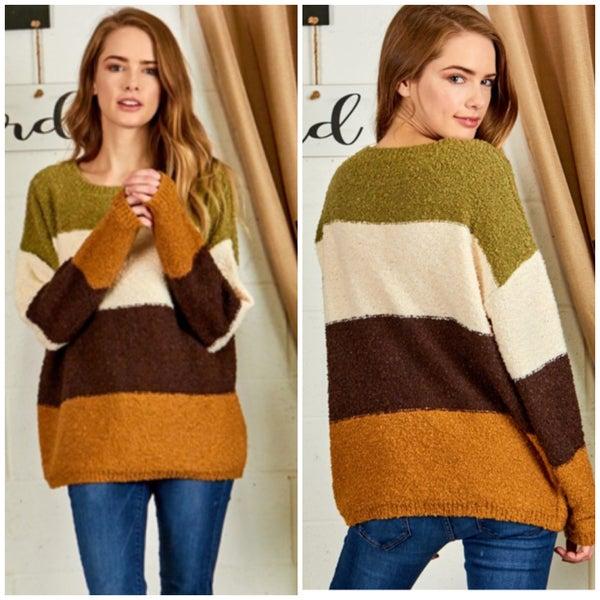 Camel & Olive Multi Striped Sweater
