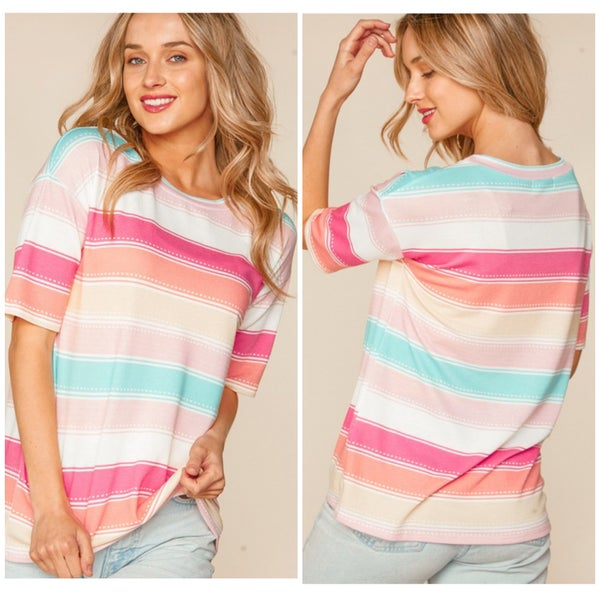 Pink Multi Striped Top