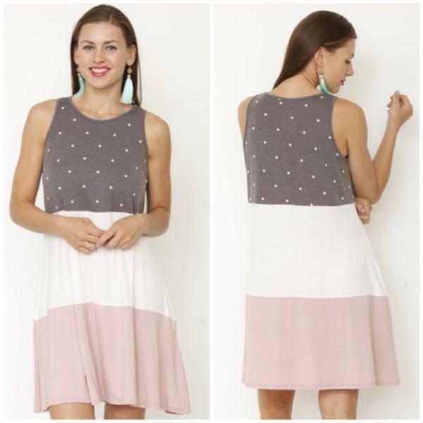 Charcoal Polka Dot Tiered Tunic Dress