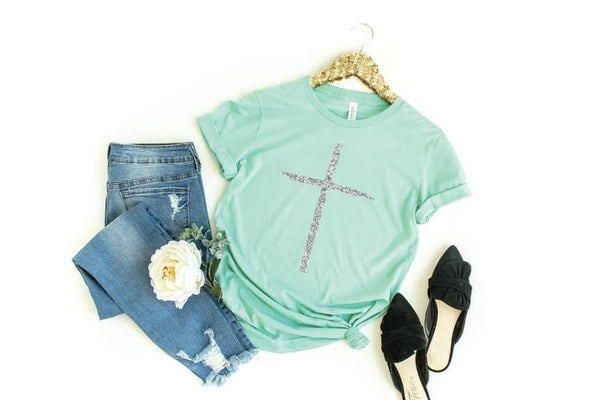 Mint Glitter Cross Tee