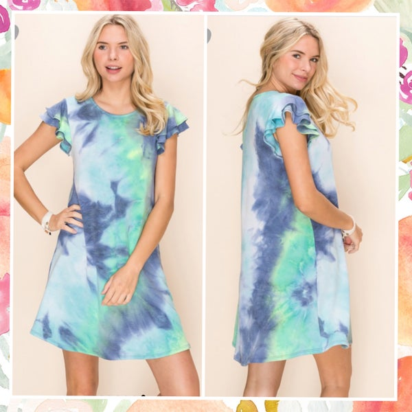Navy Multi Tie Dye Ruffle Sleeve Dress
