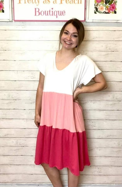 Pink Tiered Color Block Dress