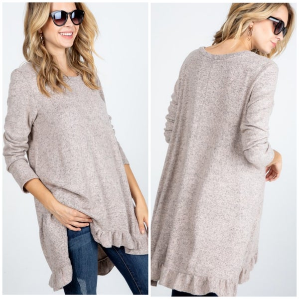 LAST CHANCE Oatmeal Brushed Ruffle Tunic Sweater FINAL SALE