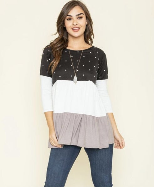 Black & Mocha Polka Dot Color Block Top