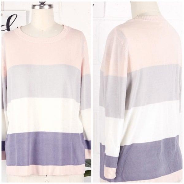 Blush Multi Striped Sweater