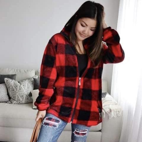 FINAL SALE Buffalo Plaid Zip Up