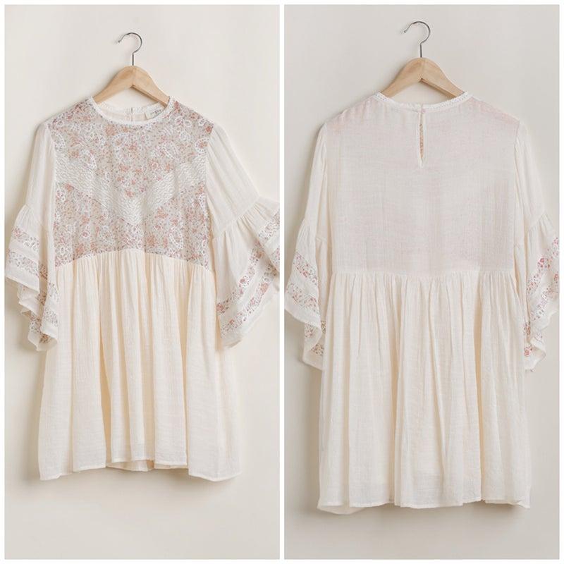 Umgee Ivory Paisley Lace Babydoll Dress