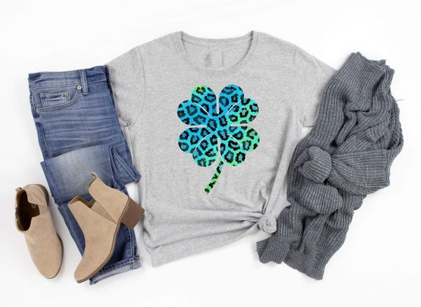 Gray Multi Animal Print Clover Tee