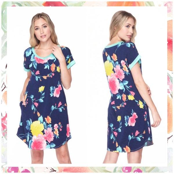 FINALSALE Blue Multi Floral Dress