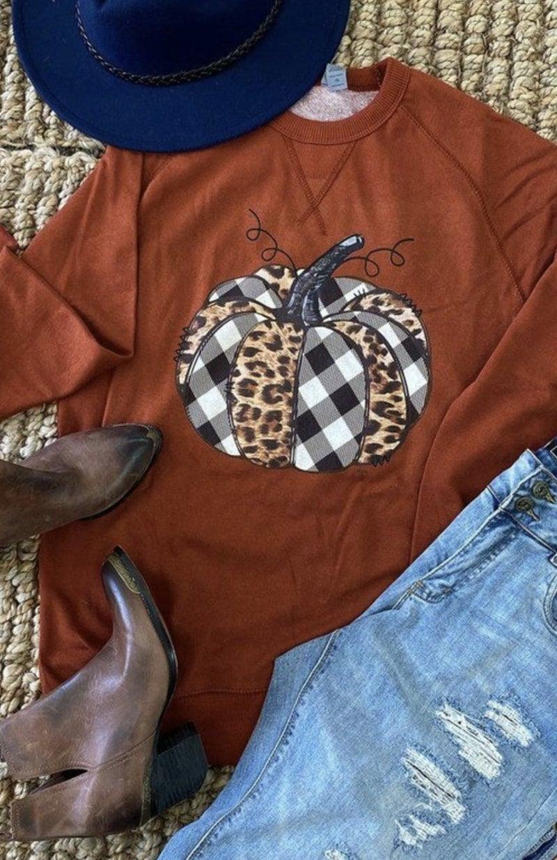 Rust Plaid & Animal Print Pumpkin Sweatshirt