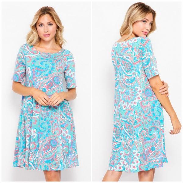 Teal Paisley Print Pocket Dress