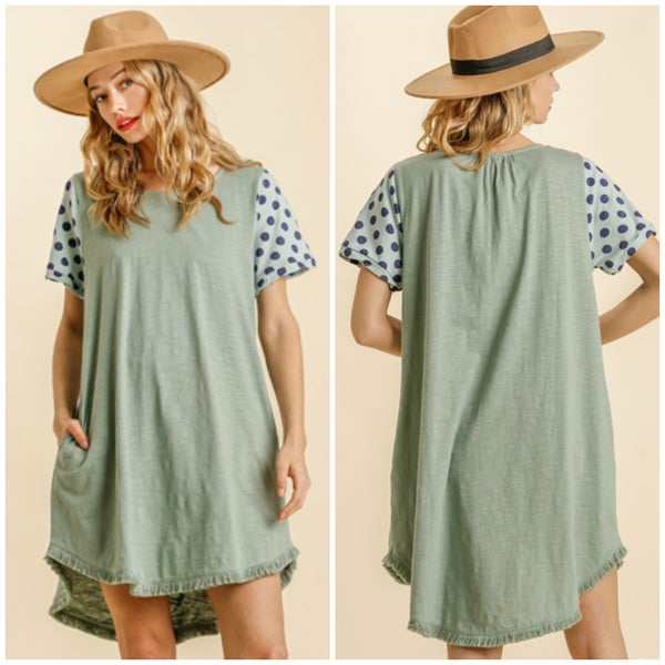 Umgee Sage Polka Dot Sleeve Pocket Dress