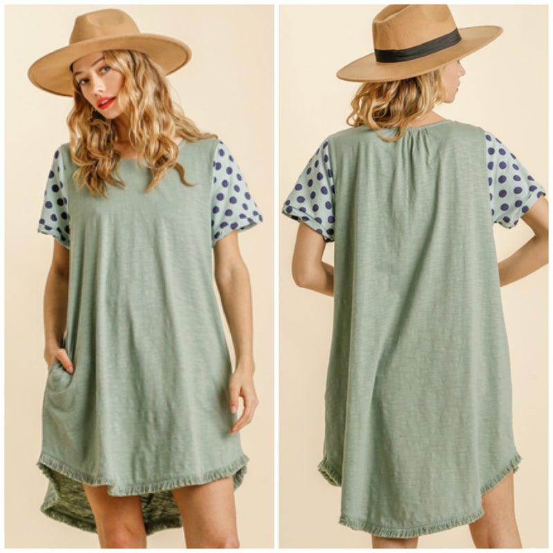 Umgee Sage Polka Dot Sleeve Pocket Dress