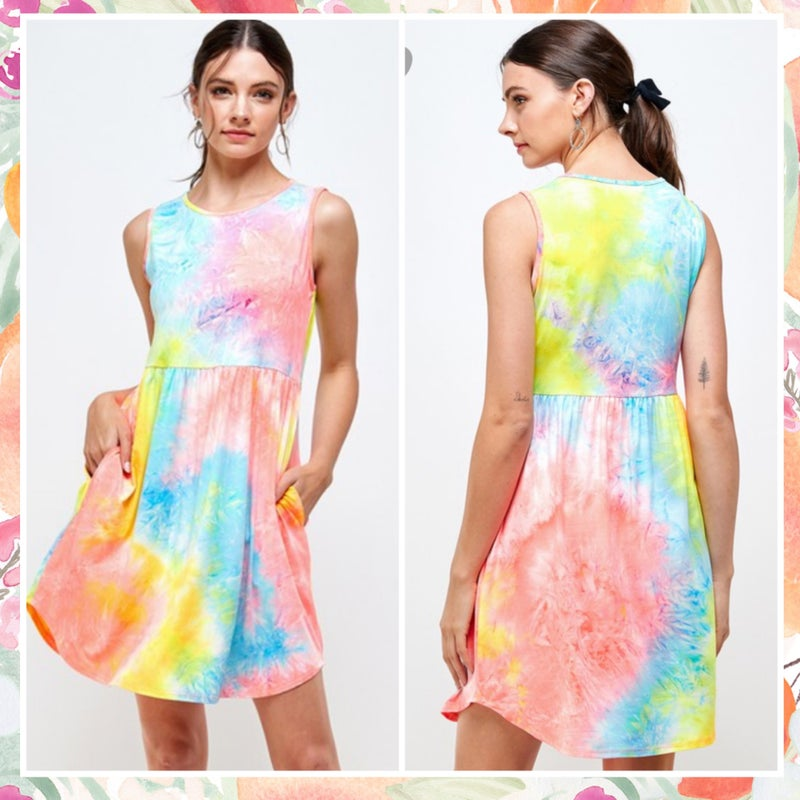 FINAL SALE Multi Tie Dye Tank Pocket Dress