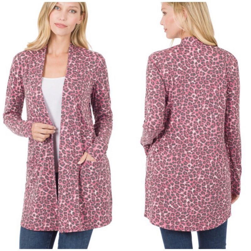 DEAL OF THE DAY Pink Animal Print Pocket Cardigan