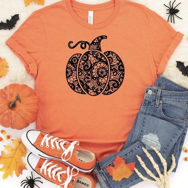 Orange Lace Pumpkin Tee