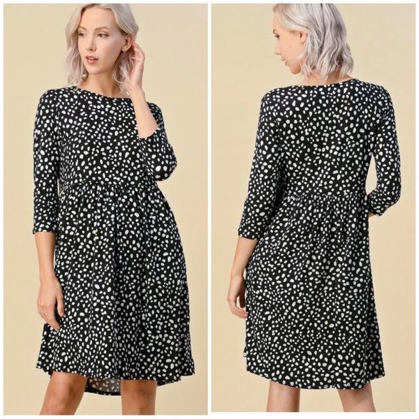 Black Dalmatian Print Pocket Dress