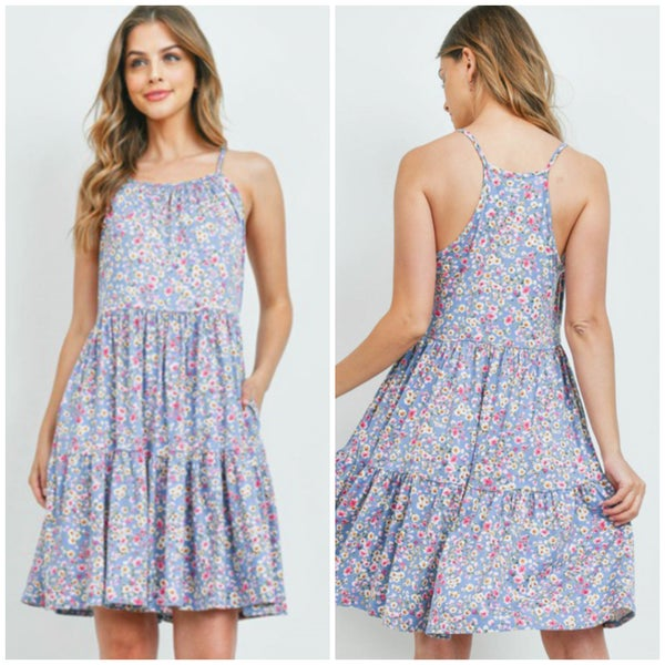Blue Floral Tiered Dress