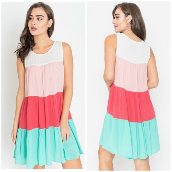 Coral & Mint Tiered Color Block Dress